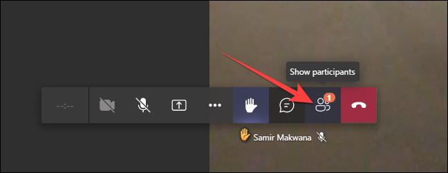 """Para a versão web do Microsoft Teams, clique em """"Participantes"""" na barra inferior."""