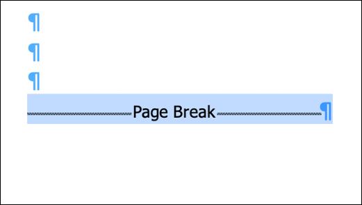 Selecione a seção ou quebra de página no documento do Word.