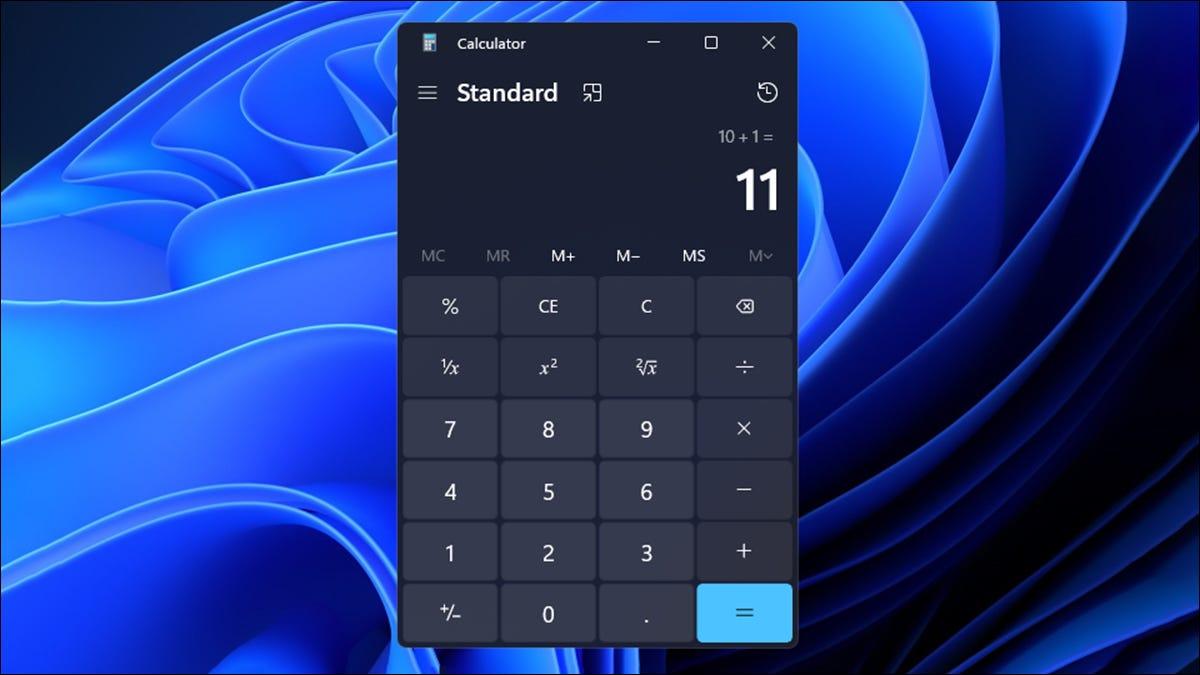 Modo padrão da calculadora do Windows 11
