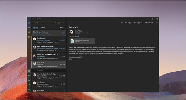 Modo escuro do Windows 11 Mail