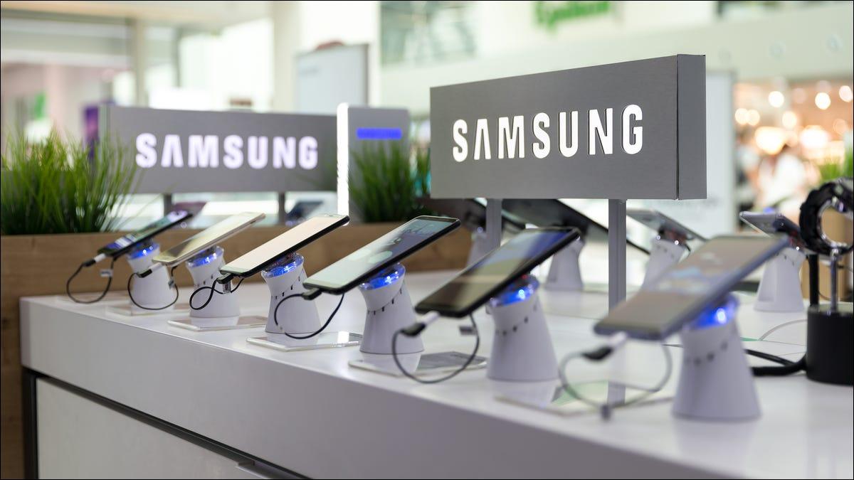 Telefones Samsung em exibição
