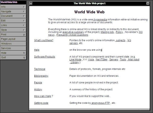 O primeiro site em execução no navegador WorldWideWeb no NeXTSTEP.