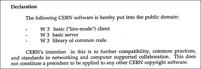 Um trecho do documento de abril de 1993 que declara a web como domínio público.