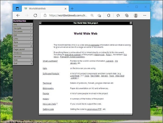 Uma simulação do primeiro navegador da Web em execução em um navegador moderno.