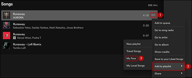 Clique nos três pontos ao lado de uma música e escolha Adicionar à lista de reprodução> Minha lista de reprodução no Spotify.