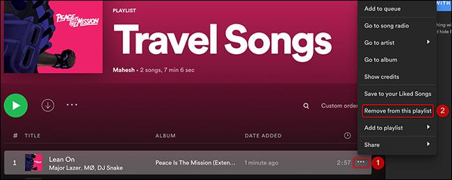 """Clique nos três pontos ao lado de uma música e escolha """"Remover desta lista de reprodução"""" no Spotify."""