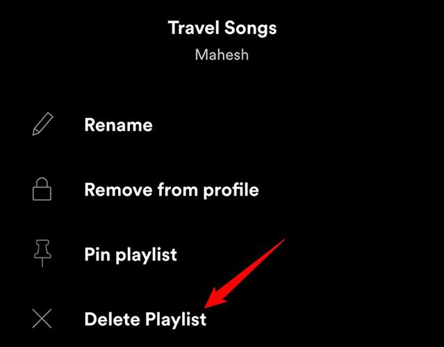 """Toque e segure em uma lista de reprodução e escolha """"Excluir lista de reprodução"""" no aplicativo Spotify."""