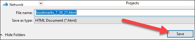 """Escolha um local e """"Salvar"""" o arquivo."""