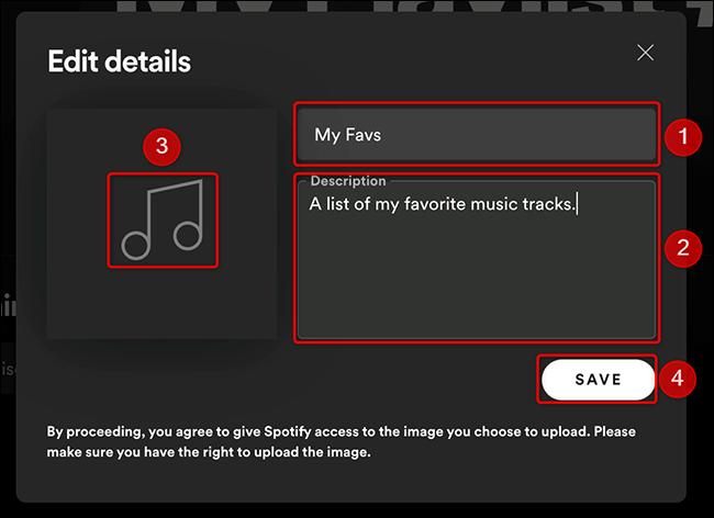 """Preencha os detalhes da lista de reprodução na janela """"Editar detalhes"""" do Spotify."""