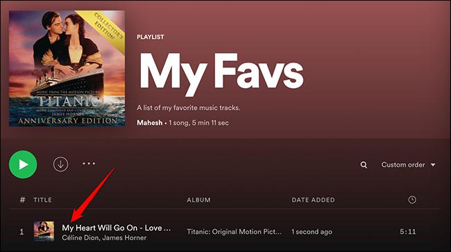 Música adicionada com sucesso a uma lista de reprodução no Spotify.