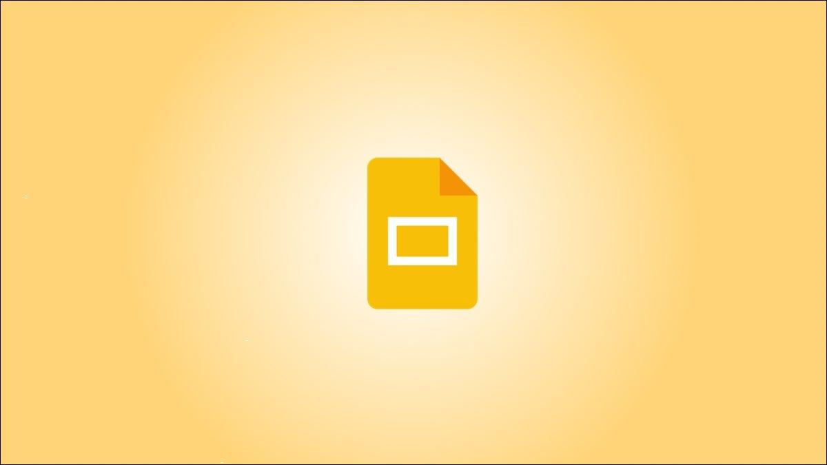 Logotipo do Apresentações Google sobre um fundo gradiente amarelo.