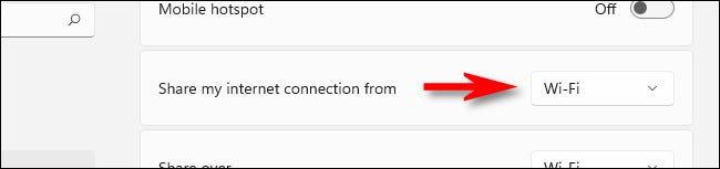 """Clique no menu suspenso denominado """"Compartilhar minha conexão de internet de""""."""