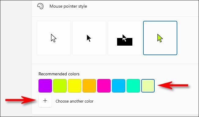 """Escolha uma cor na lista """"Recomendadas"""" ou clique no botão de adição ao lado de """"Escolha outra cor""""."""