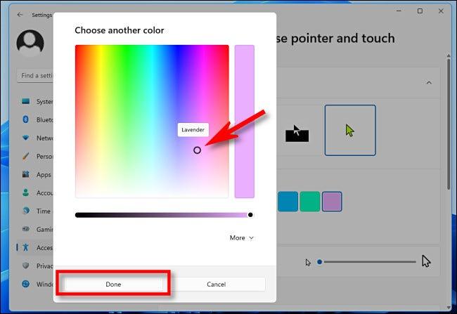 """Use o seletor de cores para selecionar uma cor personalizada e clique em """"Concluído""""."""