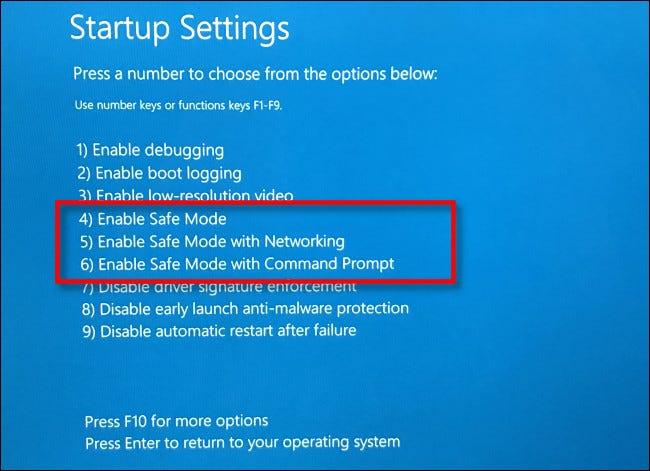 """Na tela """"Configurações de inicialização"""", pressione 4, 5 ou 6 no teclado para o Modo de segurança."""